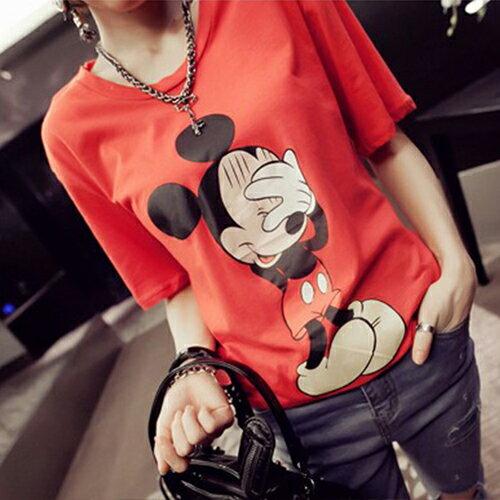上衣 / T恤 - 圓領短袖害羞尷尬掩面可愛鼠寬鬆上衣【29084】藍色巴黎《2色》現貨+預購 2