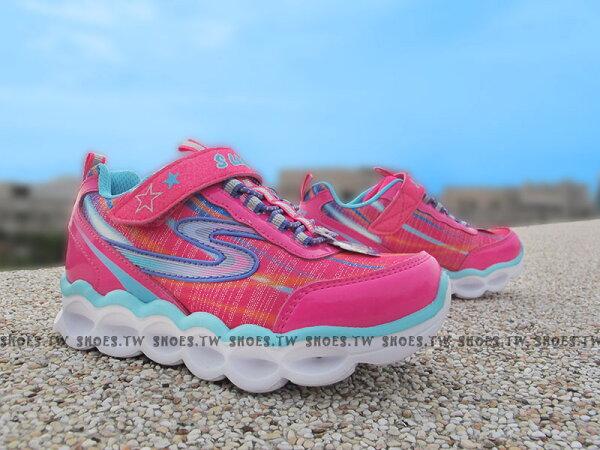 Shoestw【10613LHPMT】SKECHERS 中童鞋 電燈鞋 閃亮亮 桃紅藍 金蔥 夜間辨識