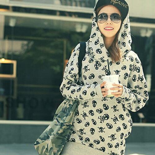 連帽上衣 - 滿版骷髏頭下襬縮口長袖連帽T恤【29180】藍色巴黎 - 現貨 + 預購 2