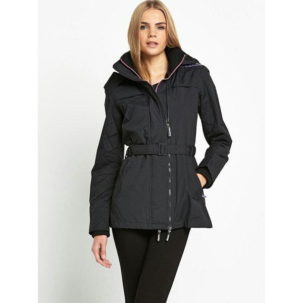 美國百分百【全新真品】Superdry 極度乾燥 長版大衣 風衣 連帽 外套 防風 菱格 夾克 黑色 紫色 女 S M號 G372