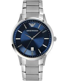EMPORIO ARMANI/AR2477質感藍簡約腕錶/藍面43mm