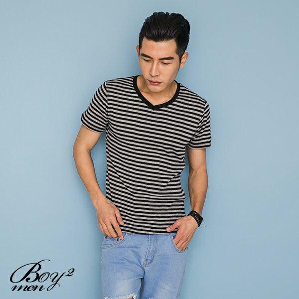 ☆BOY-2☆【PPK82110】短袖T恤韓簡約休閒V領細橫條紋滾邊素面短T 4
