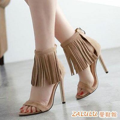 高跟流蘇一字帶涼鞋