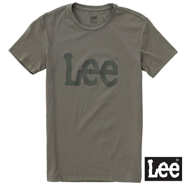 【網路限定款】Lee 短袖T恤 深灰LOGO印刷排汗質材 -男女款(黑灰)
