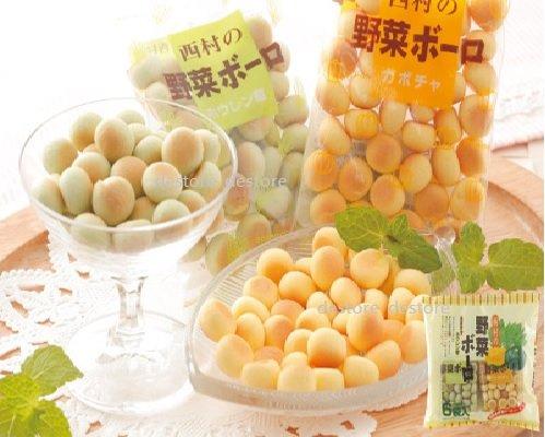 有樂町進口食品 日本西村野菜 蛋酥 ~波菜*3&南瓜*3 (共6袋入) J62 4904073687853 1