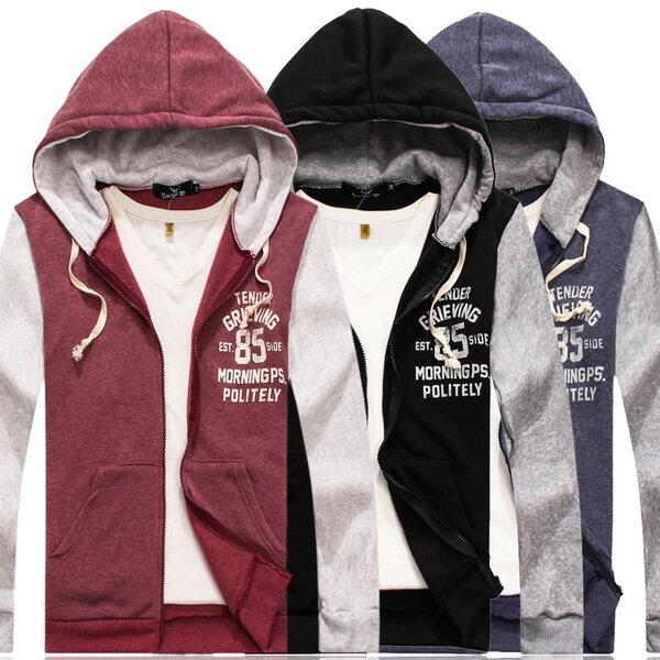 外套 情侶外套 MIT 製 刷毛外套 暖暖刷毛 背後85拼接雙色刷毛連帽外套~M10566