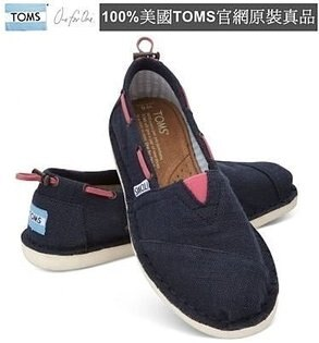 【Cadiz】美國真品正品 TOMS 深藍粉紅抽繩男女帆布平底鞋 [Navy Burlap Women's Biminis/ 代購/ 現貨]