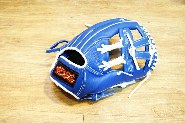 〈棒球世界〉DL訂製款 內野手工字式樣 棒壘球手套 /12.吋/送手套袋/藍色
