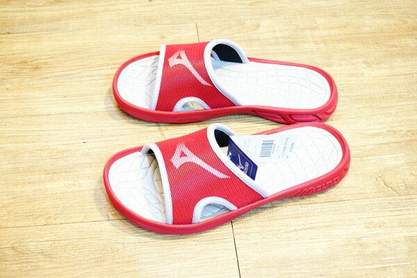 棒球世界全新MIZUNO美津濃運動拖鞋 紅色特價