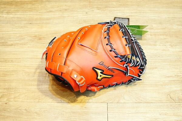 棒球世界 Mizuno美津濃 deep hollow硬式手套 1ATCH50400 特價 棒球用捕手 橘紅色