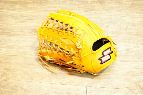 棒球世界全新SSK金標全牛皮棒壘球手套外野手用 特價 原皮色 編織球檔 65折 反手
