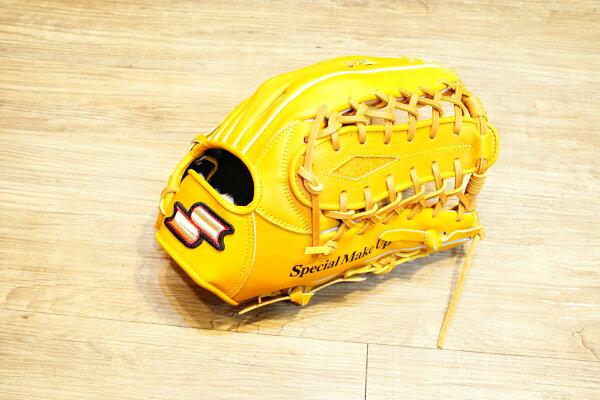 棒球世界全新SSK金標全牛皮棒壘球手套外野手用 特價 原皮色 牛舌球檔 65折