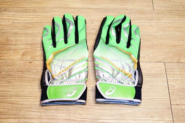 棒球世界Asics亞瑟士日本ST1打擊手套 雙手用 特價綠色
