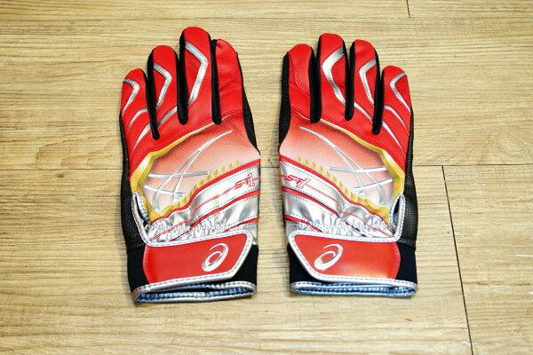 棒球世界Asics亞瑟士日本ST1打擊手套 雙手用 特價紅黑色