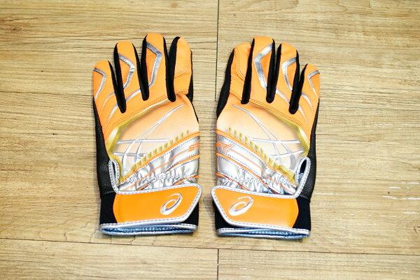 棒球世界Asics亞瑟士日本ST1打擊手套 雙手用 特價黑橘色