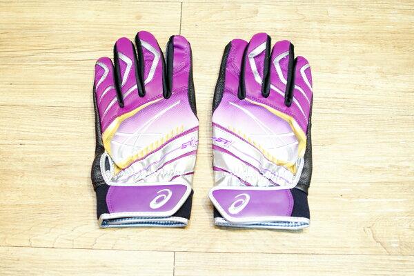 棒球世界Asics亞瑟士日本ST1打擊手套 雙手用 特價黑紫配色