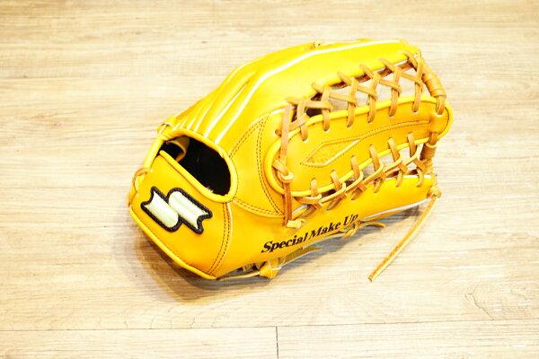棒球世界 全新 店訂版SSK棒壘通用牛皮外野手套特價   牛舌檔 原皮色