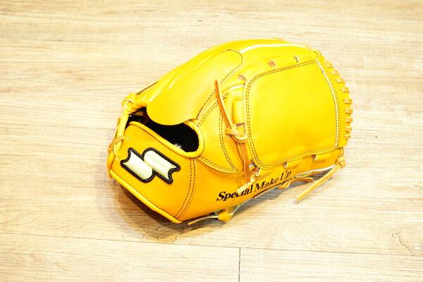 棒球世界 全新 店訂版SSK棒壘通用牛皮手套特價投手  全封  原皮色