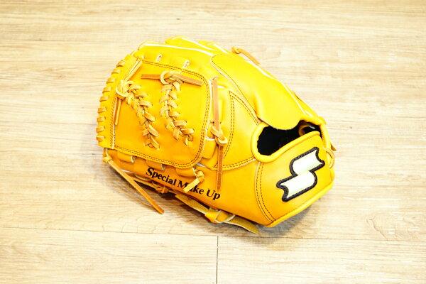 棒球世界 全新 店訂版SSK棒壘通用牛皮手套特價投手 棒球圖騰球檔  原皮色 反手
