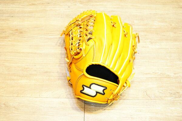 棒球世界 全新 店訂版SSK棒壘通用牛皮外野手套特價   U網檔 原皮色 反手