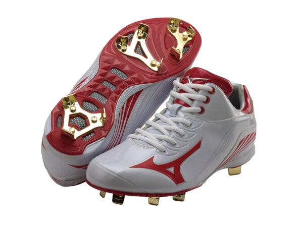 棒球世界12年最新Mizuno美津濃棒球釘鞋 輕量化設計  特價白紅配色