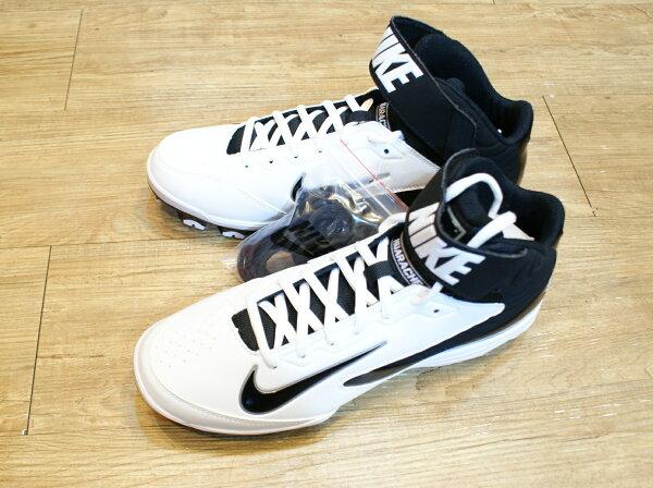 棒球世界 13年 全新NIKE STRIKE MCS 棒壘球專用膠釘鞋 特價 高統白底