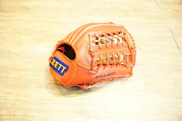 棒球世界 全新ZETT棒球野手用手套 橘色款 特價 T網檔