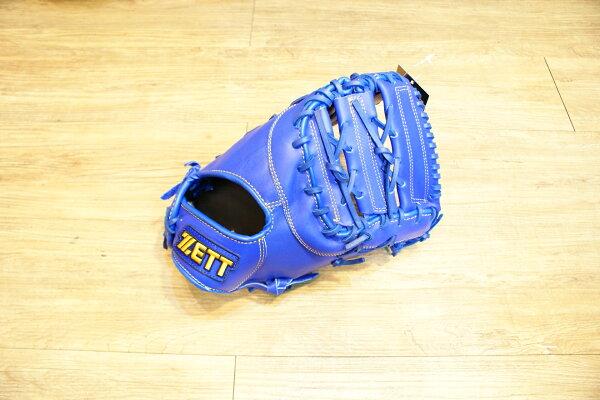 棒球世界 全新ZETT棒球一壘手手套 藍色款 特價