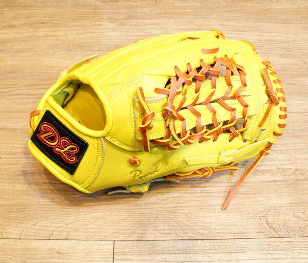 棒球世界14年DL新款外野棒壘球手套 黃色 特價 送皮革油//