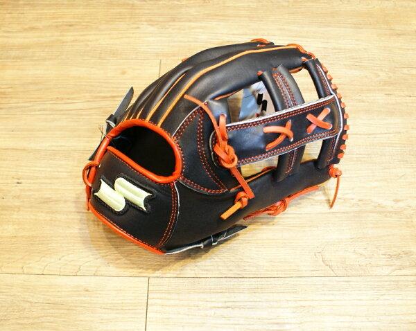 棒球世界 全新SSK黑橘配色棒壘球手套 特價 十字檔
