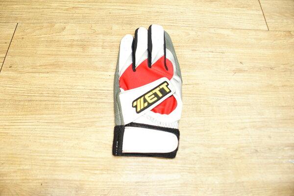 棒球世界 14年ZETT 進口山羊皮打擊手套 特價 雙魔鬼沾設計 紅白配色