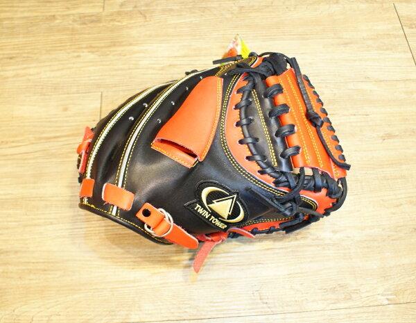 棒球世界 全新雙塔PRO級硬式捕手手套 特價 黑紅配色