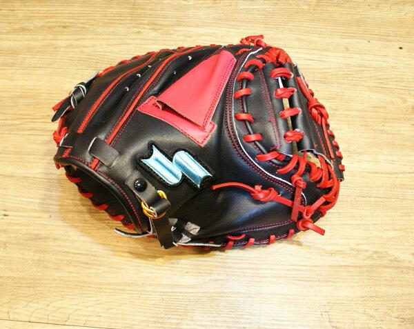 棒球世界 14年新款 SSK牛皮棒球捕手手套 WFF77 特價 黑紅配色