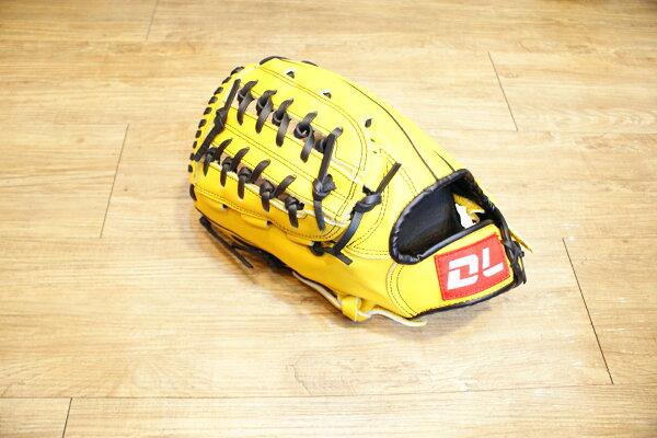 〈棒球世界〉DL內野網狀黃色訂製款 12.5吋棒壘手套 特價 送手套袋