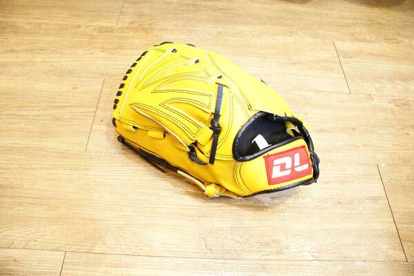 〈棒球世界〉DL內野投手黃色訂製款 12.5吋棒壘手套 特價 送手套袋 反手用
