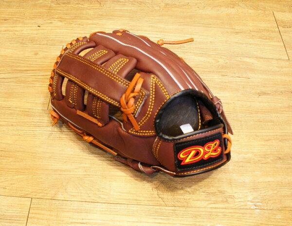 〈棒球世界〉DL外野雙十字咖啡色訂製款 13吋棒壘手套 特價 送手套袋 反手用