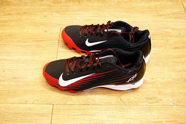 棒球世界14年新款 nike vapor strike 黑紅配色 膠釘壘球鞋 特價