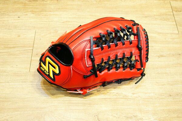 棒球世界 SURE PLAY 日本品牌 外野北美牛皮 棒壘手套 特價 血紅色