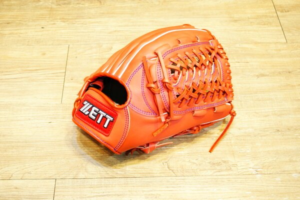 棒球世界 全新ZETT棒壘球內野牛皮手套 橘色 特價 加送手套袋 8727系列