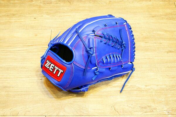 棒球世界 全新ZETT棒壘球投手牛皮手套 藍色 特價 加送手套袋 8701系列