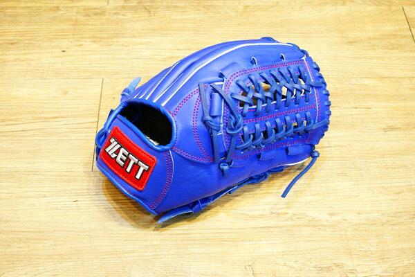 棒球世界 全新ZETT棒壘球內野牛皮手套 藍色 特價 加送手套袋 8716系列