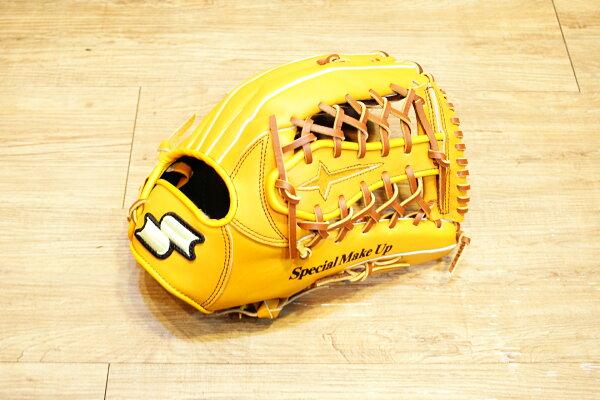 棒球世界 全新 店訂版SSK棒壘通用牛皮外野手套特價   T網檔 原皮色