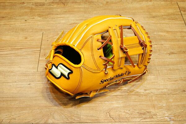 棒球世界 全新 店訂版SSK棒壘通用牛皮內野手套特價   工字檔 原皮色