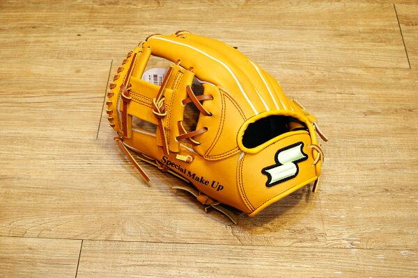 棒球世界 全新 店訂版SSK棒壘通用牛皮內野手套特價   工字檔 原皮色  反手
