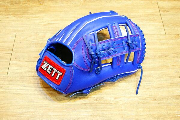 棒球世界 全新ZETT棒壘球內野十字牛皮手套 藍色 特價 加送手套袋 8715系列