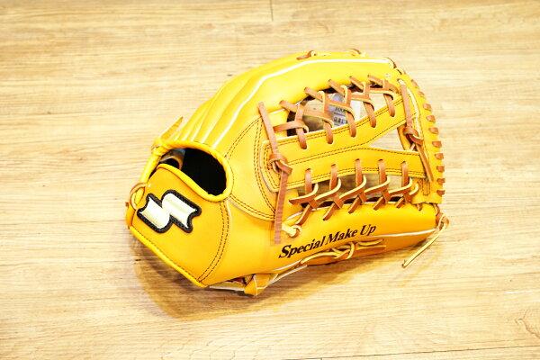 棒球世界 全新 店訂版SSK棒壘通用牛皮外野手套特價   Y網檔 原皮色