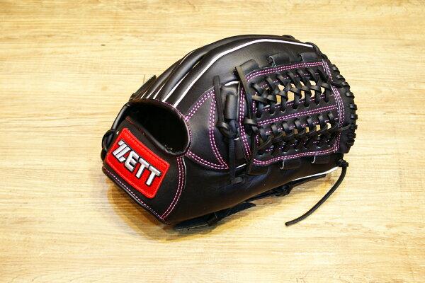棒球世界 全新ZETT棒壘球內野網狀牛皮手套 黑色 特價 加送手套袋 8716系列