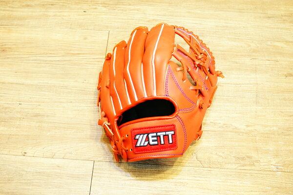 棒球世界 全新ZETT棒壘球內野手牛皮手套 橘色 特價 加送手套袋 8704系列