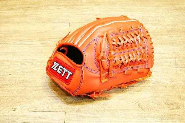 棒球世界 全新ZETT棒球內野網球檔牛皮手套 橘色 特價 加送手套袋 8716系列