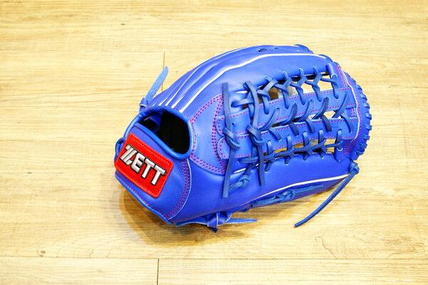 棒球世界 全新ZETT棒壘球外野手用牛皮手套 藍色 特價 加送手套袋 8737系列